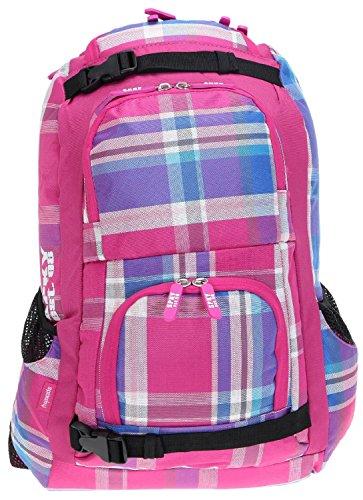 S P K Y Laptoprucksack LASER 15,4 bis 17 Zoll Schulrucksack Rucksack [Laptop max. 41 cm x 28 cm ] / CANDY PINK Pink Plaid Checker