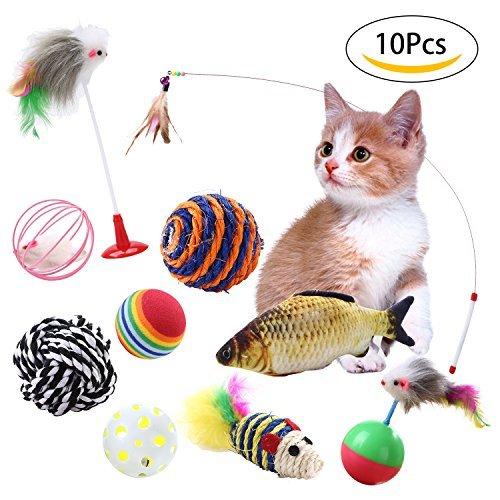 Top Munster Juguetes para gato (10 piezas, incluye pelota de gato con forma de pez, bola de campana, pelota de juguete arcoíris, bola de vaso con ratón de plumas para gatito Kitty