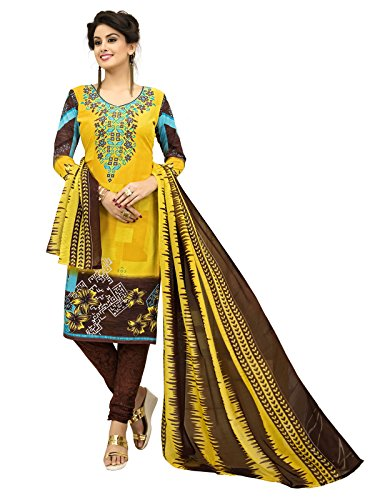 FabFactory Yellow & Brown Printed Synthetic Unstitched Salwar Suit Dress Material for...
