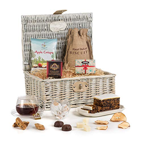 Shabby Chic Tea & Treats Vintage Style Cream Hamper Basket Gift for Mother's Day