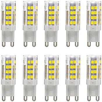 Bombillas LED G9 5W equivalentes a Lámparas halógenas de 35W,Blanco Frío 6000K,450LM,AC 220-240V,51x SMD 2835 pack de 10