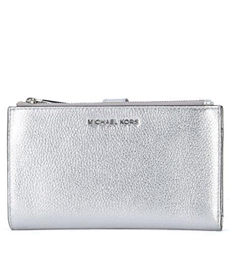 Michael Kors Portemonnaie Adele in genarbtem Leder Silber (Kors Tasche Michael Silber)