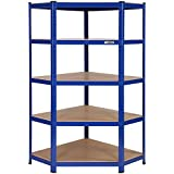 VonHaus 5 Tier Heavy Duty Steel & MDF Corner Racking Shelving Unit Free 2 Year Warranty - 875kg Capacity