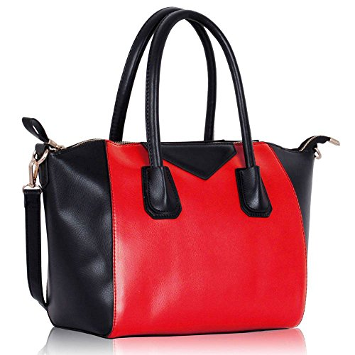 Womens Oversized Designer Shoulder Faux Leather Bags Stylish Shopper Handbags (Black/Nude Fashin Tote) (AA - Black/Red)