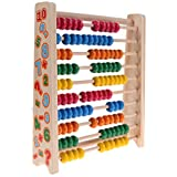 Math Beads Toys - Wood Colorful Beech Abacus Teaching Learning Classic Counting Tool, Counting Frame Educational Training 100 Colorful Beads For Kids By Shuban