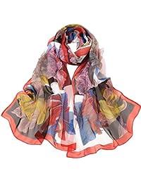 1pcs Femme Foulard en Mousseline de Soie Écharpe Mince Châles Couleur Unie  Simple Elégante pour Printemps 4e2df743e3e