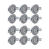 PLESONTECH® 300LM 12x3W 2800K-3000K LED Spot Einbauleuchte Warmweiß Einbau Strahler Set Decken Leuchte Lampe (12X Warmweiß) - Versand aus Deutschland