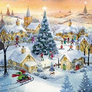 Medici luxury christmas cards med9247 winter scenes 16 Christmas card scenes to paint