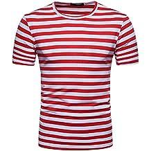 Camisetas Hombre Manga Corta,Venmo Hombres Verano Rayas Casual Cuello Redondo Camisetas Deporte Ropa Deportiva T-Shirt Crew Neck Tee