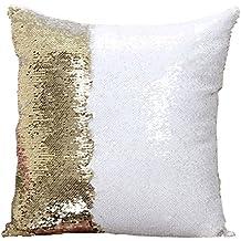 Snug Star farbige Paillette wendbar Pailletten Meerjungfrau Kissen 40,6x 40,6cm Gold and White