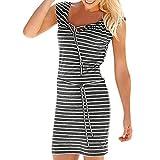 TWIFER Mode Boho Streifen Lange Mini Kleid Strandkleider Sundress (Grau, XL)