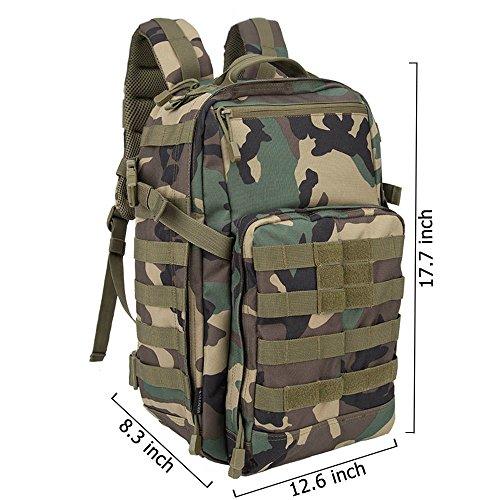 Oleader 30L Taktischer Rucksack Militär Molle 3 Tage Angriffspackung Sturm-Rucksack für Wandern Schießen Camping Trekking Jagd im Freien Dschungeltarnung