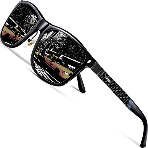 ATTCL Herren Polarisierte Sonnenbrille Al-Mg Metall Rahme Ultra Leicht 7001 Black