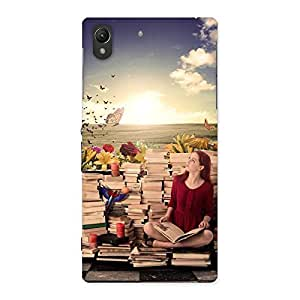 Wonderful Cute Book Girl Back Case Cover for Sony Xperia Z1