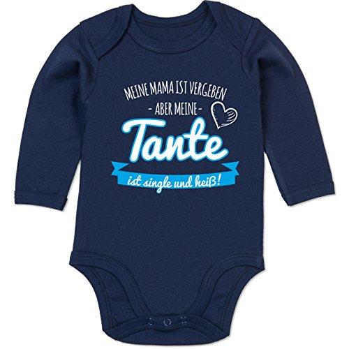 Shirtracer Sprüche Baby - Tante Single und Heiß Junge - 6-12 Monate - Navy Blau - BZ30 - Baby Body Langarm -