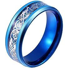 Anillo de dragón celta de color azul