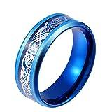 HIJONES Herren Edelstahl Blau Celtic Dragon Ring Mit Kohlefaser Inlay Ehering 8MM Größe 70