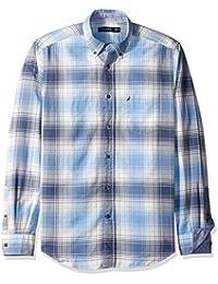 Nautica Plaid Classic Fit, Camisa Casual para Hombre
