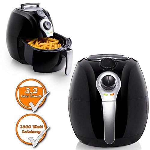 Fritteuse im XL-Format, 3,2Liter, Low-Fat Fritteuse mit Umluftfunktion zum Frittieren, Backen und Rösten ohne Öl und Fett, 1500Watt