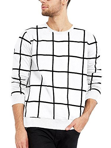 Maniac Men's Cotton Full Sleeves Checked T-Shirt (White, XL)