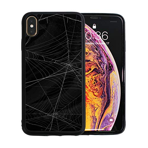 KAOROU Schwarze Spinnen und kaputte Bahnen Apple Phone Xs Max Fall Displayschutzfolie TPU Hard Cover mit dünnem stoßfestem Stoßfänger Schutzhülle für Apple Phone Xs Max 6,5 ()