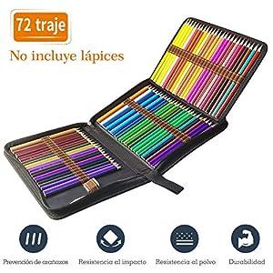 TOPERSUN Bolsa de Lápiz de Colores 72 Estuche Enrollable 72 Lápices Estuche para Lápices de Lona Organizador para…