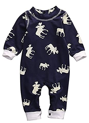 Infant Boy Girl's Fall Spring Cute Moose Elk Printed Romper Bodysuit Jumpsuit