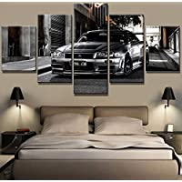 mmwin 5 Piece HD Print Nissan Skyline Gtr Car Modern Decorative Paintings on Canvas Wall Art for Home Decorations Wall Decor