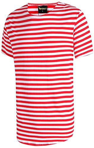 Pizoff Unisex Hip Hop Urban Basic langes T Shirts mit bretonischen Streifen mit rundem Saum Y1724-RedWhite-XL (Oxford Trek)