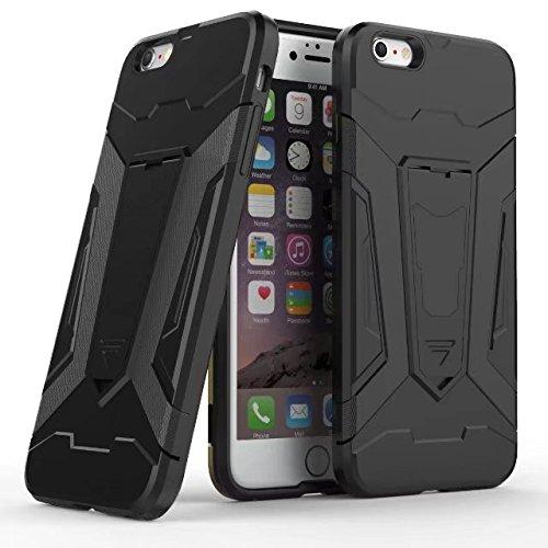EKINHUI Case Cover Neue Rüstung Tough Hybrid Dual Layer Rüstung Defender PC Hard Shell Cover mit Kickstand [Shockproof Case] Für iPhone 6 Plus & 6s Plus ( Color : Gray ) Black