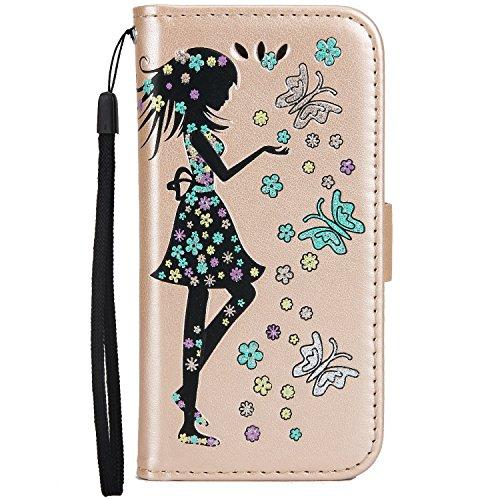 Fairy Girl & Flowers Embossing Pattern Housse en cuir PU Housse horizontale Flip Stand Housse pour sac en cuir avec cordon et carte Slots pour iPhone 5 et 5 et SE ( Color : Pink ) Gold