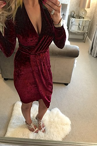 Miss Floral Women's Long Sleeve Velvet Wrap Romper Dress 4 Colour Size 6-14