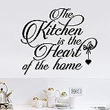 La cuisine est le cœur de la maison citation sticker mural restaurant cuisine famille cantine poêle sticker mural56x49cm