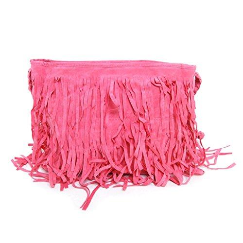 Fashion Fransentasche Damentasche aus Wildleder Beutel Taschen Schultertasche Umhängetasche mit Reissverschluss Rot