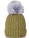 4sold Rita Damen Wurm Winter Style Beanie Strickmütze Mütze mit Fellbommel Bommelmütze HAT SKI Snowboard (Olive)