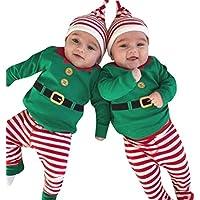 ZEZKT-Baby Baby Jungen Weihnachten Kostüm Strampler Langarm Bodysuit + Hosen + Weihnachtsmütze Kleinkind Overall 3 Stück Santa Claus Outfits Set Grün