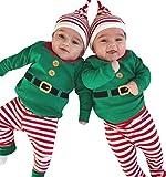 ZEZKT-Baby Baby Jungen Weihnachten Kostüm Strampler Langarm Bodysuit + Hosen + Weihnachtsmütze Weihnachtsgeschenk Kleinkind Overall 3 Stück Santa Claus Outfits Set Grün (6Monate, Grün)