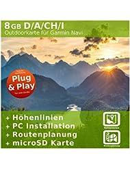 8 GB Deutschland, Österreich, Italien & Schweiz Topo Karte – Kompatibel zu Garmin Etrex 30 x Touch / Etrex 30x