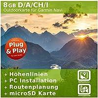 8GB Germania, Austria, Italia e Svizzera Topo carta–Compatibile con Garmin