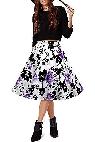 iHaipi - Rétro Jupe de Bal/Soirée Femme Vintage Raffiné Rockabilly Petticoat Pique-nique (03. Large, 05. Blanc - Violet Fleurs)