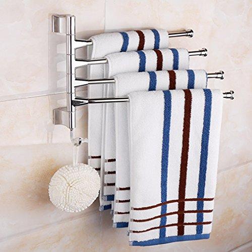 BONADE® Edelstahl Handtuchhaken Handtuchstange 1 Haken Handtuchhalter mit 4 Bewegliche Armen für Küche und Bad, zur Wandmontage, Schwenkbereich 180°