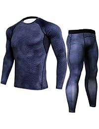 Herren Kompression T Shirt Funktions-T-Shirt Top & Kompressions Leggings Base Layer Basic Unterwäsche Fitness