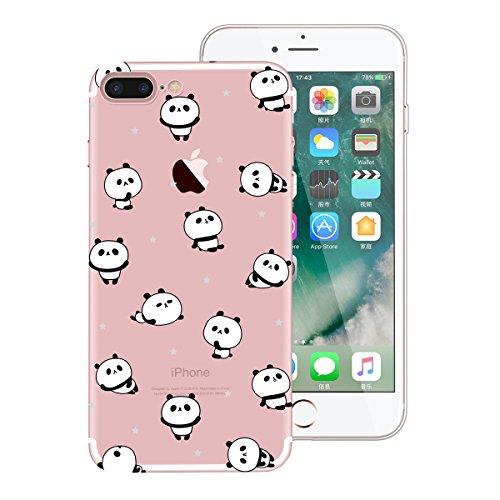 SMART LEGEND iPhone7 Plus Weiche Silikon Hülle TPU Bumper Transparent Handyhülle mit Wassermelone Muster Durchsichtig Schutzhülle Backcover Crystal Kirstall Clear Etui Ultra Slim Design Glatt Weich Ha Panda
