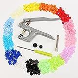 Slivercolor T5Boutons pression Push Button Lot Snap Pince avec 150pièces 15couleurs Boutons poussoirs Push Button Boutons poussoirs pour scrapbooking Couture Craft DIY