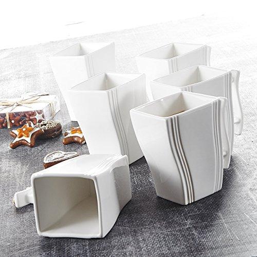 MALACASA, Serie Flora, Porzellan 6 TLG. Kaffeetasse Set Becherset Eckig 350ml