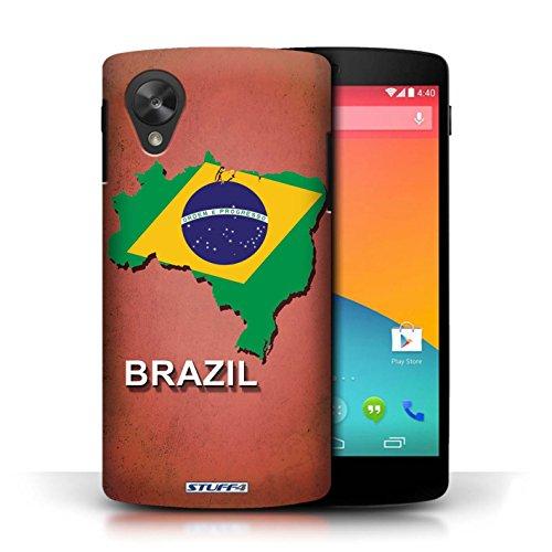 Coque en plastique pour LG Google Nexus 5/D821 Collection Drapeau Pays - Grèce/Grecque Brésil