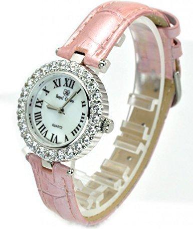 Royal Crown 6305 Damen-Armbanduhr, Diamant-Uhr, rundes Zifferblatt, rosa Lederarmband (Royal Schmuck-display Crown)