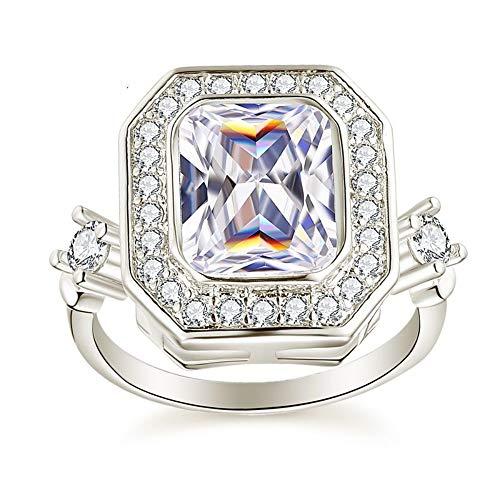 SSLL Ring damen Damen Silber Farbe Verlobungsring Hochzeit Clear AAA Zirkon Modeschmuck Größe 5-12,11 - Größe 11 Damen-verlobungsringe,