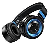 Picun P6 Drahtlose Bluetooth 4.0 Stereo On Ear Kopfhörer 2016 New Generation Geräuschisolierenden Faltbar Kreative Ideen und Beste Bluetooth Headsets Over Ear für Smartphones iPhone Samsung Laptops iPad PC und die Meisten Bluetooth Fähigen Geräten mit Micro Lautstärkeregelung und Audiokabel In line TF Karten Unterstützung und FM Radio Funktion Schwarz Blau