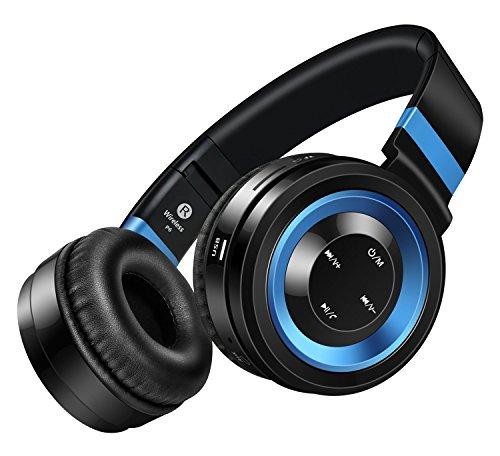 Sound Intone P6 Bluetooth 4.0 cuffie stereo, Hi-Fi con cancellazione del rumore In Ear auricolare senza fili, con configurazione in microfono e controllo del volume, è dotato di cavo audio, compatibile con la maggior Cellulari / PC / TV / iPhone / Samsung / Laptop (Nero/blu) - Pulsanti Turtle